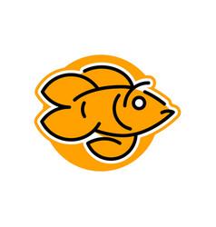 Logo goldfish line style vector