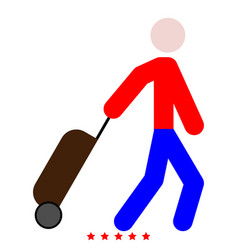 man with suitcase icon color fill style vector image vector image