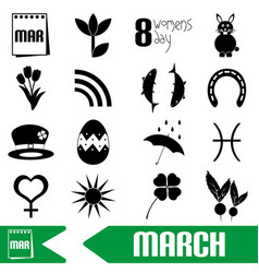 March month theme set of simple outline icons vector
