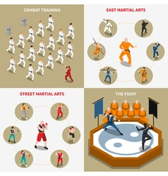 Martial arts people isometric 2x2 icons set vector
