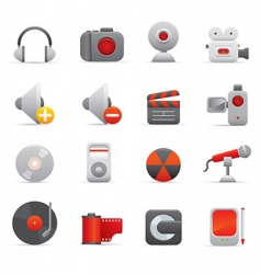 multimedia icons red vector image vector image