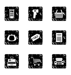 Purchase in shop icons set grunge style vector