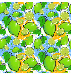 Seamless pattern lime fruits summer ornament vector