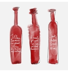 Set of bottle wine - watercolor bottles hand drawn vector