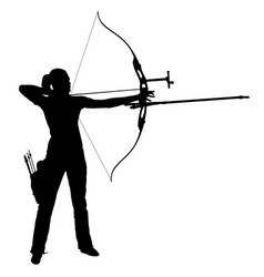 Silhouette attractive female archer bending a bow vector