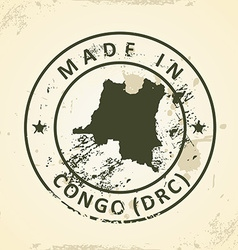 Stamp with map of congo drc vector