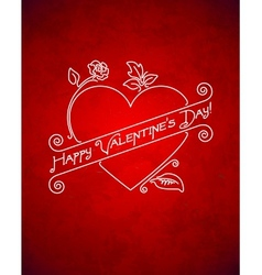 Vintage grungy Valentines Day card with ribbon vector image vector image