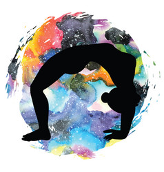 Women silhouette upward bow wheel yoga pose vector