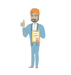 Young hindu businessman holding a certificate vector
