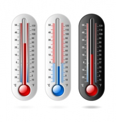 Thermometers celsius and fahrenheit vector