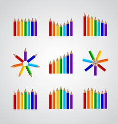 charts in the form of pencils vector image
