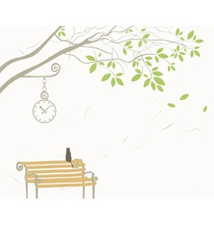 Tree and cat vector