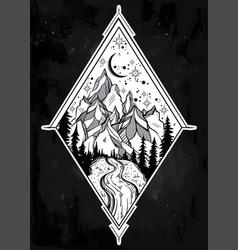 beautiful mountain landscape geometry elements vector image