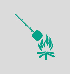 Camping fire with roasting marshmallow icon vector