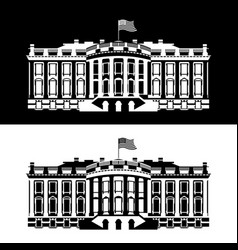 White house america black and white icon vector