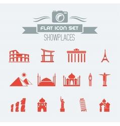 Landmarks Flat Icon Set vector image