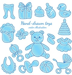 Hand-drawn baby icons set vector