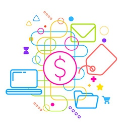 Symbols of purchasing via the internet on abstract vector