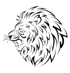 Isolated head of lion - vector