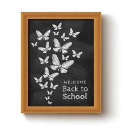 chalkboard butterfly black vector image