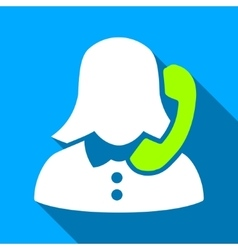 Phone female consultant flat long shadow square vector