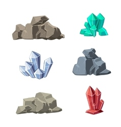 Cartoon minerals and stones set vector