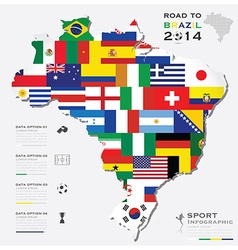 Road to brazil 2014 football tournament sport vector