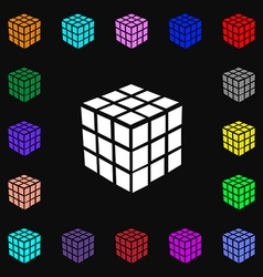 A three sided cube puzzle box in 3d icon sign lots vector