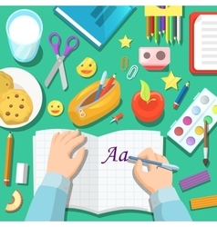 Back to School Children Table with Notepad vector image vector image