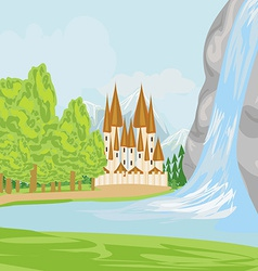 beautiful landscape with a castle on the lake vector image