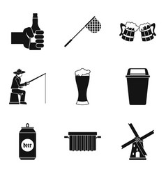 beer drink icons set simple style vector image vector image