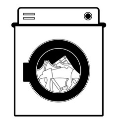 black sections silhouette of washing machine with vector image vector image