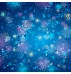 Blue background with snowflake and bokeh vector