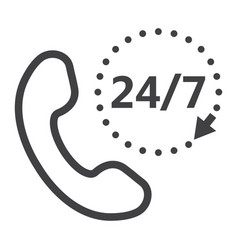 call 24 7 line icon support service and website vector image vector image