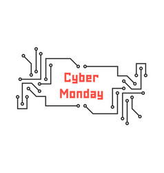 Cyber monday with pcb elements vector