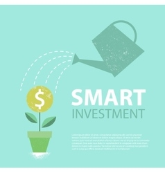 Dollar plant in the pot and watering can vector image