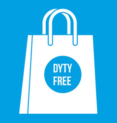Duty free shopping bag icon white vector