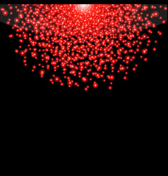 Falling glow red particles on black background vector