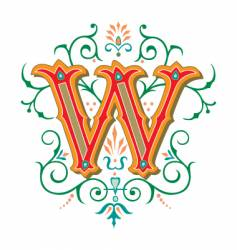 floral letter w vector image vector image