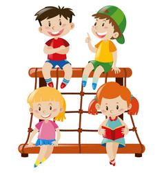 four kids on rope climbing station vector image