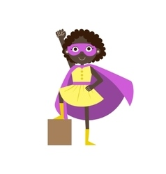 Girl in superhero costume with violet cape vector