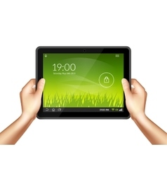 Hand With Tablet vector image vector image