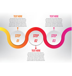 Infographic circle curve 3 step vector