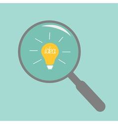 Magnifier and light bulb Idea concept Flat design vector image vector image