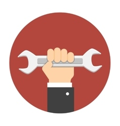 Man hand holding wrench vector