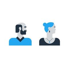 Man woman side view halfe face head old elderly vector