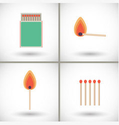 match sticks and box set flat vector image