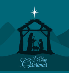 merry christmas nativity scene with holy family vector image