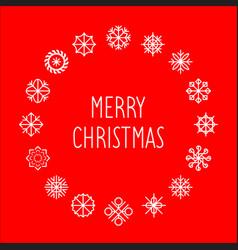 merry christmas text in round snowflakes vector image