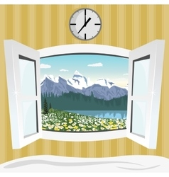 open window with summer mountain landscape view vector image